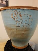 DAVID BROMLEY LARGE POTTERY VASE BOY PLAYING 32 CCM