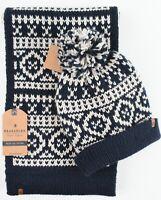 BRAKEBURN Men's 2-pc Chunky Knit Accessory Set, Scarf + Bobble Hat, Blue