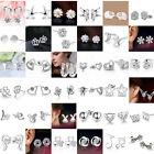 1Pair Fashion Lovely Lady 925 Sterling Silver Rhinestone Crown Ear Stud Earrings