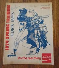 1974 Atlanta Braves Spring Training Score Book Program 2 Autographs