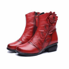 Retro Women's Genuine Leather Martin Ankle Boots Low Heel Warm Lace Up Zip Shoes