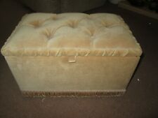Padded Hinged Storage Box / Pouffe / Footstool / Sewing Box on castors