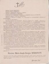 *1905 Faire-part décès Marie-Joseph-Georges DESBARATS - Eauze (Gers)