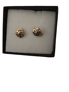 Real 10K Solid Yellow Gold Diamond Cut Round Nugget Stud Earrings.