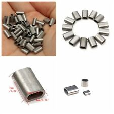 50x Silver Cable Crimp 304 Stainless Steel Sleeve for 1/16'' Diameter Wire Rope