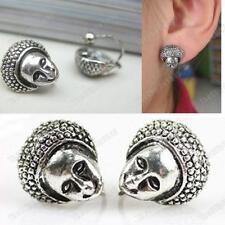 U CLIP ON non-pierced AFRICAN DOLL HEAD face RETRO EARRINGS vintage silver pltd
