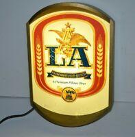Vintage Working Light Up 1984 ANHEUSER BUSCH LA Beer Local Bar Sign Man Cave!