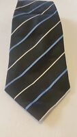 Kenneth Cole Reaction Black striped 100% Silk Tie Men Necktie