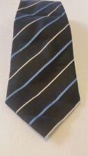 Kenneth Cole Reaction Black striped 100% Silk Tie Men Necktie