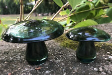 2 Vintage Art Glass Mushrooms Smokey Gray IFP Sweden