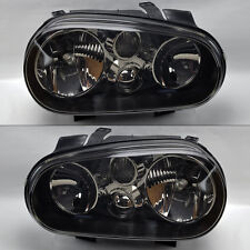 VW Golf Cabrio 99-04 MK4 Black Smoke Glass Front Headlights Pair Set RH LH