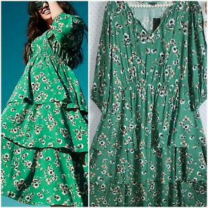 Torrid 2 Dress Green Tiered Cottagecore NWT New Floral Plus Size 2X Midi - Maxi