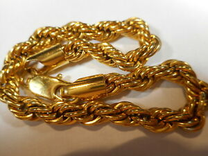 14K Gold Plated Thick Rope Chain BRACELET Signed MA S. STEEL CHINA Looks Real