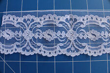 Nylon Scalloped Lace Edging ~ White 6.5cm ~ 2mts for $1