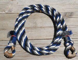 """1/2"""" Alpaca Hair Loop Roping Reins 4 Str x 9.5 ft - Navy Blue / White / Grey"""