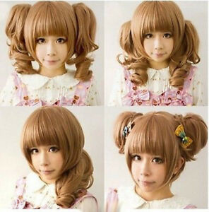 Light Brown Clip on 2 Ponytails Curly Cosplay Anime Women's Hair Wig Wigs + Cap