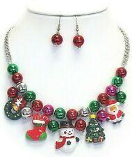 Merry Christmas Multi Charm Dangle Necklace Earring Set