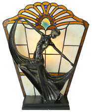 Art Deco Stained Glass Lamp, Table Lamp, Amber Stained Glass