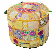 """18"""" Indian Yellow Patchwork Pouf Ottoman Cover Footstool Embroider Covers Throw"""