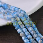 New 30pcs 8mm Cube Square Faceted Glass Loose Spacer Colorful Beads Deep Blue