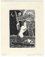 DANIEL MEYER: Exlibris für Maurice Maroue, Nixe, 1948
