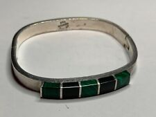 Malachite & Onyx Stones Women's Sterling Bracelet with