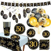 Disposable  Tableware Sets Happy Birthday Banner Hanging Party Decor Supplies