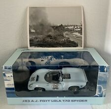 GMP Lola T70 Spyder Car 83 AJ Foyt 1:18 Scale RARE NEW In Box + Press Photo!