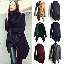 Women Winter Warm Trench Coat Long Wool Jacket Outwear Irregular Parka Cardigans