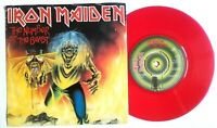"""IRON MAIDEN 1982 THE NUMBER OF THE BEAST 7"""" RED VINYL 45 (EMI 5287)"""