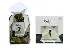 Set of 2 Colony 1 Jasmine & Sandalwood Scented Potpourri & 1 Box of 9 Tealights