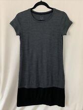 Ibex Women's 100% Merino Wool Hildie Shift Dress Size XS Gray Black Short Sleeve