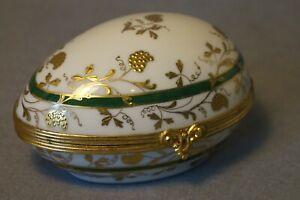 French Limoges Le Talec porcelain egg shape box
