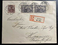 1920 Alt Ukta Olsztyn Registered Cover to Hanover Germany Versailles Treaty