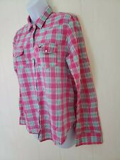 Hollister Womens Pink White Plaid Long Sleeve Pearl Snap Button Up Shirt Sz M
