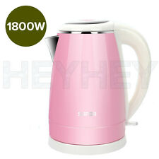18/10 Stainless Steel Cordless 1.7L Kettle Jug Electric 360 Base 1800W PINK