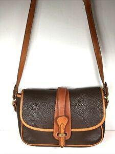Dooney & Bourke Vintage Brown Leather Flap Crossbody Shoulder Bag