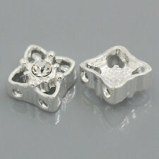 LOVE Spacer Beads Findings Slider With Rhines2 Holes 11mm x 11mm 25x