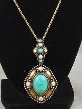 """Jessica Simpson PENDANT Turquoise Cream Antique Goldtone 18"""" Necklace $28"""
