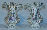 Pair Old Paris French Porcelain Spill Vases Floral Bouquet 13""