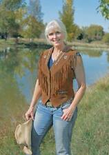 Womens Vintage Western Wear Ladies Native Fringe & Beads Suede Leather Vest New
