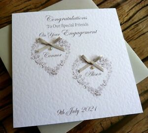 """Handmade Personalised Engagement Card .Congratulations Twin Hearts  6"""""""