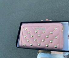 Love Moschino Pink Zip Around Wallet Cipria Gold Heart Stud Logo Quilted