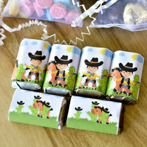 54 Cowboy Birthday Candy Labels Western Cowboy Party Stickers Hershey Miniatures
