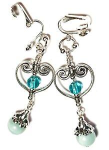 Long Turquoise Agate Clip-On Earrings Gemstone & Glass Bead Drop Dangle Heart