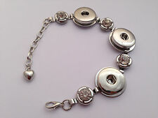 Noosa Style Silver Color Bracelet with Rhinestones - 3 Buttons - FREE PP