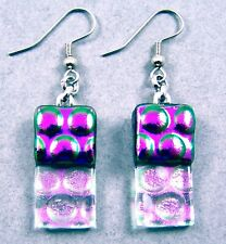 DICHROIC Glass EARRINGS Purple & Clear Pink Opal Bubbles Dots Dangle Surgical 1""