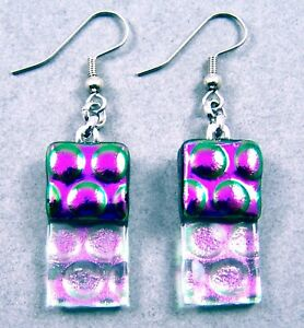 """DICHROIC Glass EARRINGS Purple & Clear Pink Opal Bubbles Dots Dangle Surgical 1"""""""