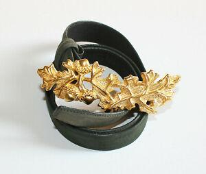 Vintage Carlisle Gold Tone Oak Leaf & Acorn Green Suede Leather Belt Sz L 16302