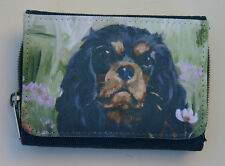 CAVALIER KING CHARLES SPANIEL black tan DENIM BLUE FABRIC PURSE WALLET OIL PAINT